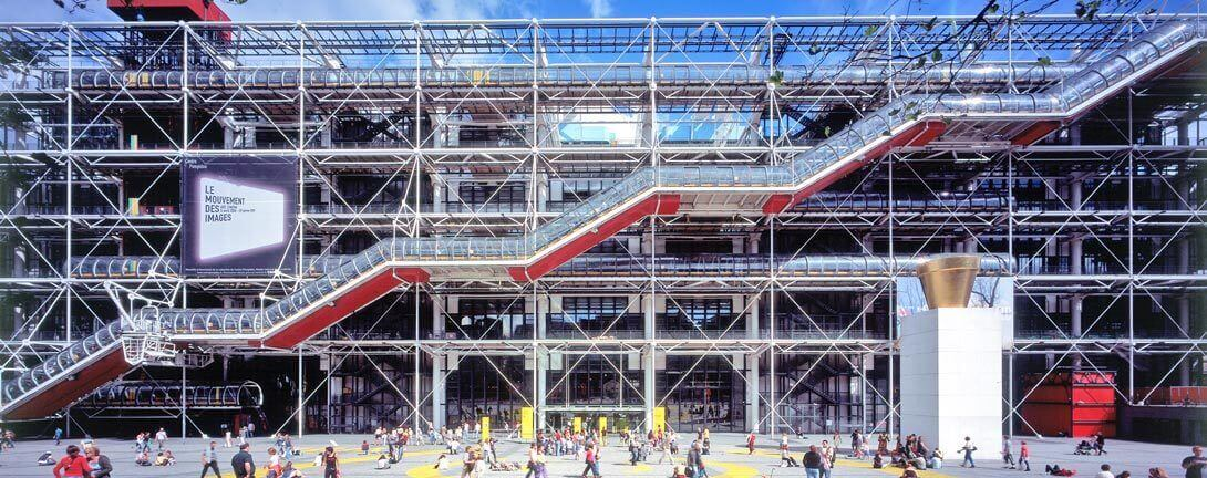 Façade of Pompidou centre showing main external staircase.