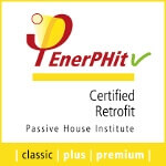 Passive house institute official logo for the three categories of the passive house certified retro-fit standard.