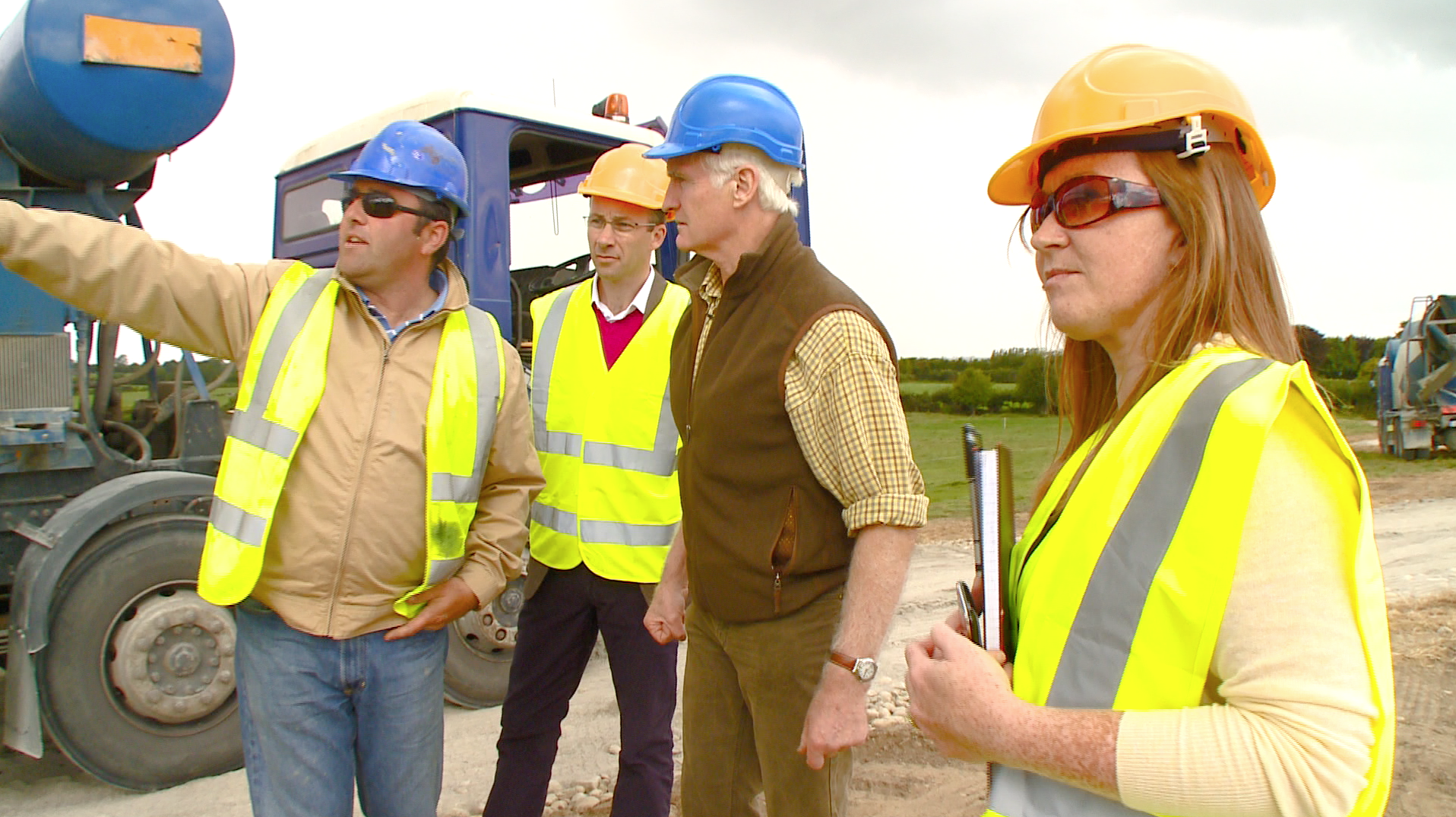 Cathal O'Leary and Tracey Sludds with Architect Duncan Stewart during the filming of About the House at the Holden Passive House in Tullow, Co. Carlow.