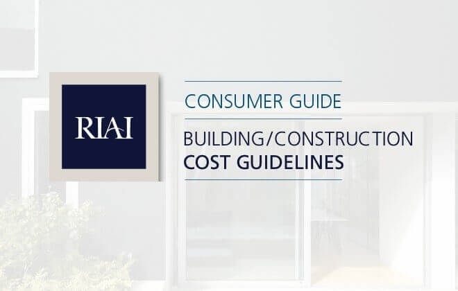 Front cover of a building cost document with RIAI logo and image of building greyed out in background.