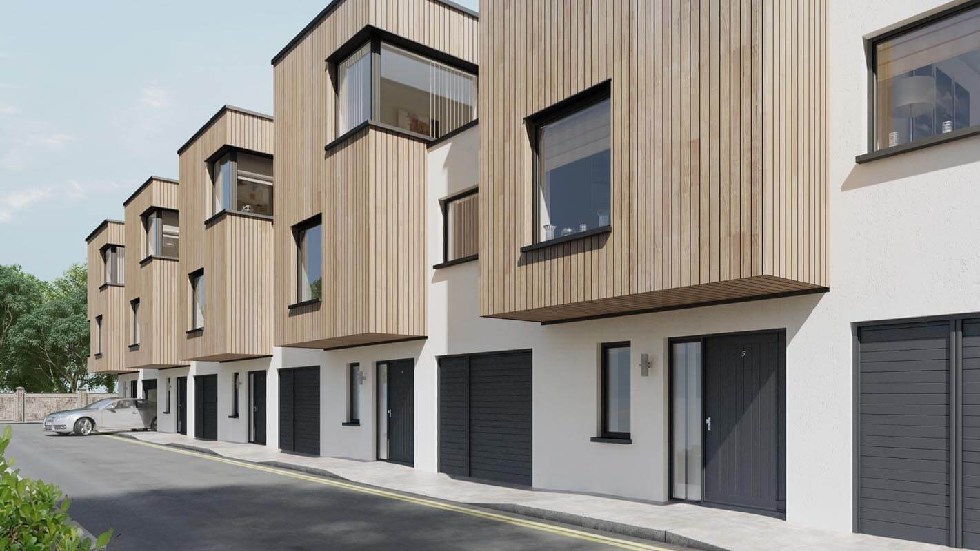 Three storey residential development consisting of white rendered walls and protruding two storey timber clad boxes which form canopy over main entrance area.