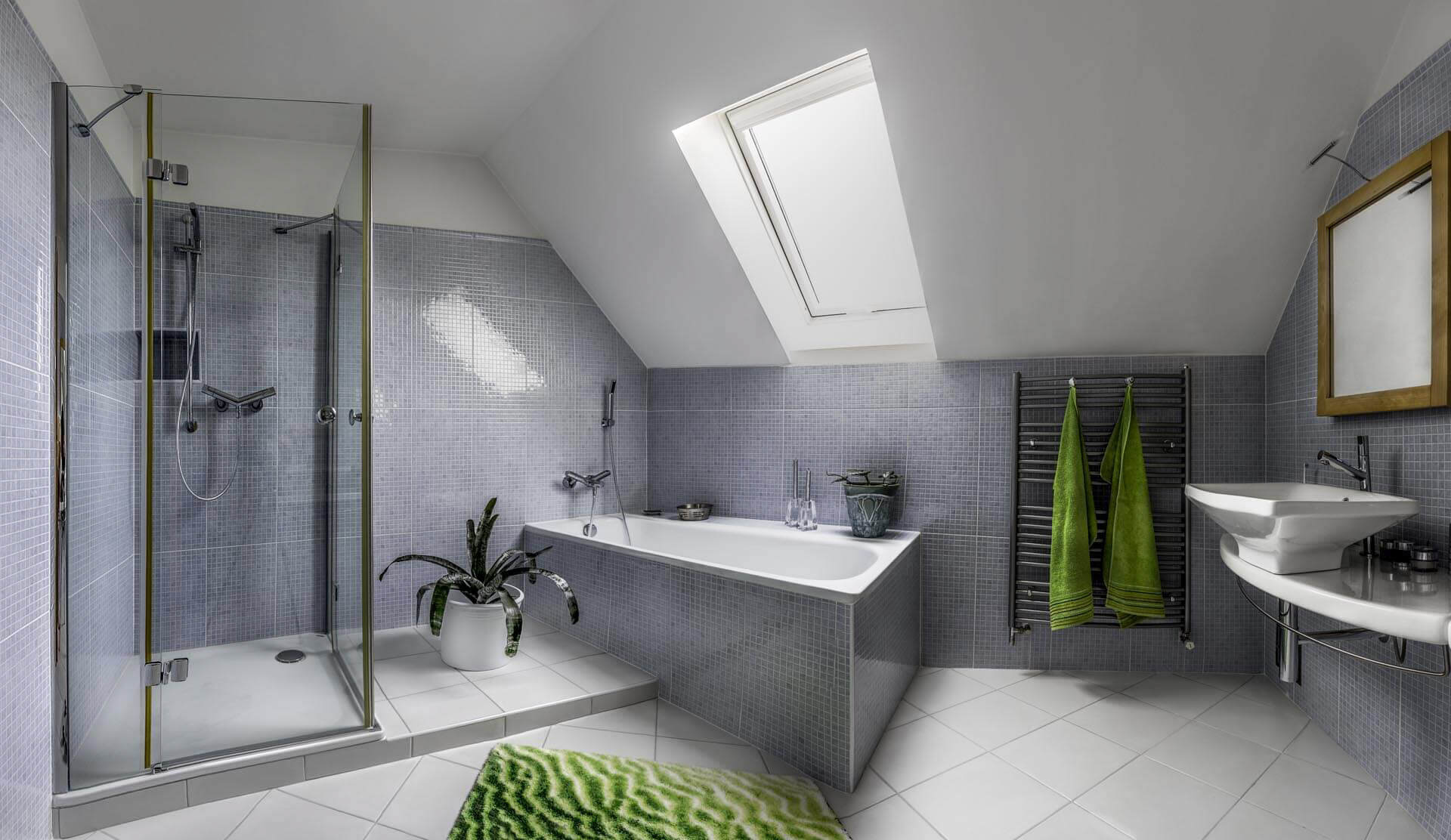 Main bathroom on first floor of storey and half passive house with separate shower and bath.