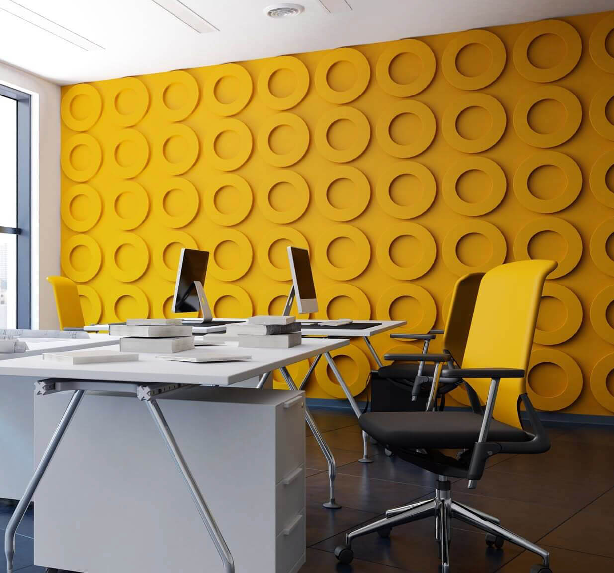 Office with large window and yellow feature walls with yellow circles and yellow backed office chairs.