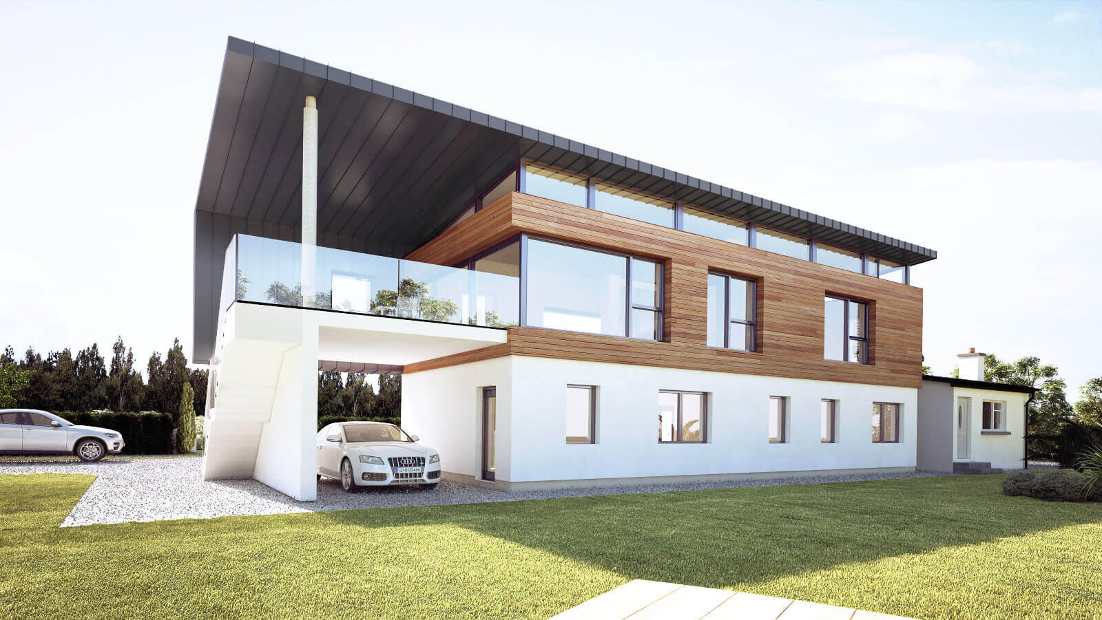 Two storey certified passive house with timber cladding to raised living area and external glass balustraded terrace with zinc overhang over car port.