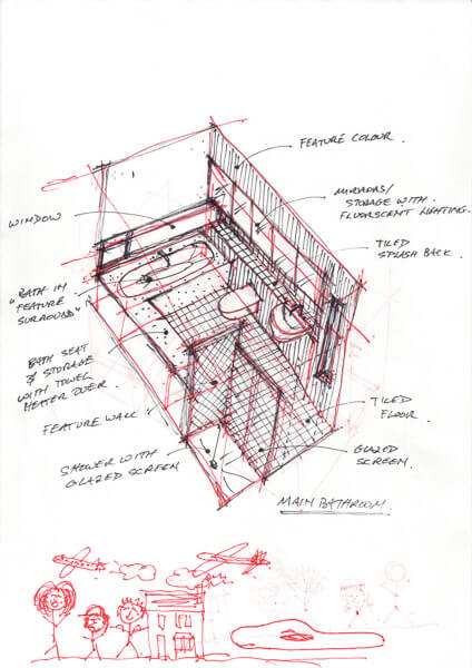 3-D sketch of family bathroom in black and red pen with doodles to the bottom.