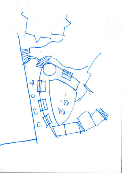 Sketch of site layout plan of apartment block showing approximate size and location of development in blue pen.