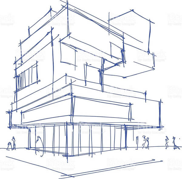 3-D street view sketch of apartment block with glazing to ground floor and cantilevered floors above.