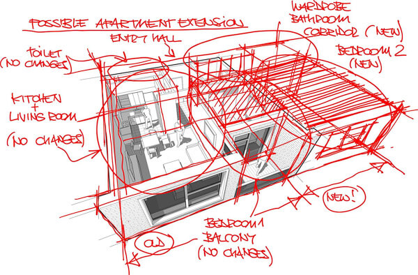 3-D of apartment block with red pen sketch overlaid to show possible extension.