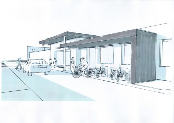 Concept sketch of zinc entrance canopies to office with ca