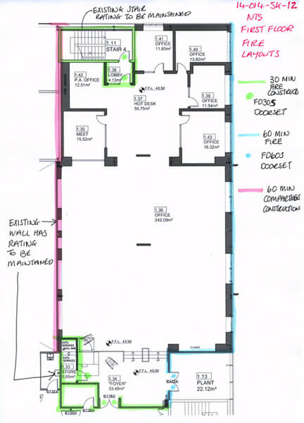 Marked up floor plan of open plan office area with cellular offices in red, blue and green high lighters.