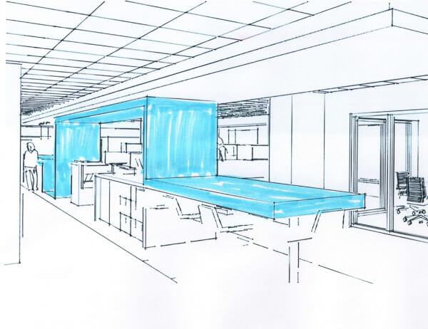 "Sketch of blue feature wall ""snaking"" through open plan office area."