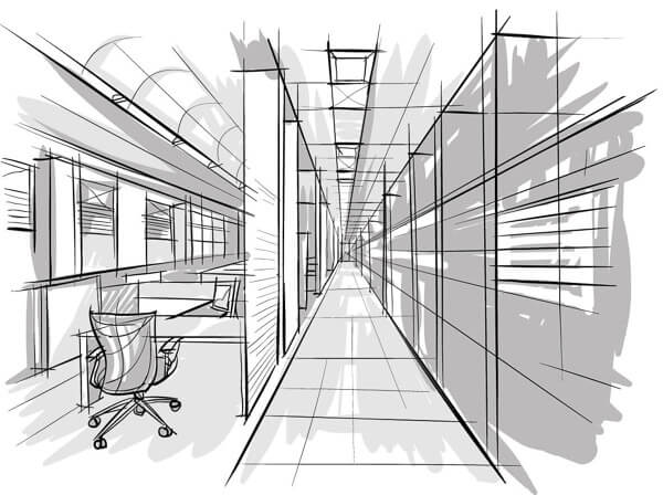 Grey and white concept sketch of circulation route in office with office chair.