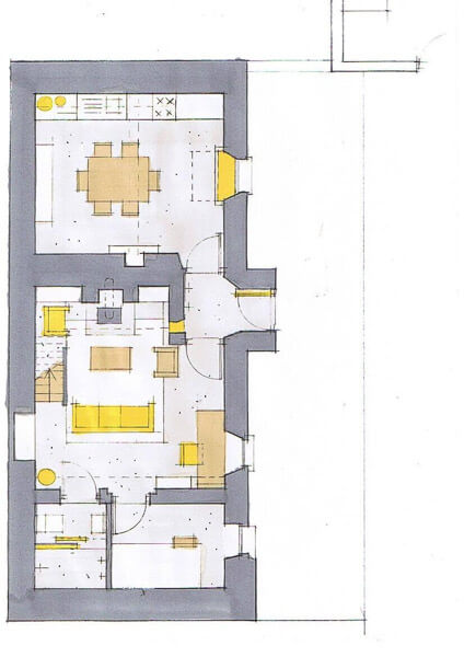 Rendered  Cottage  Floor  Plan  Oleary  Sludds  Architects