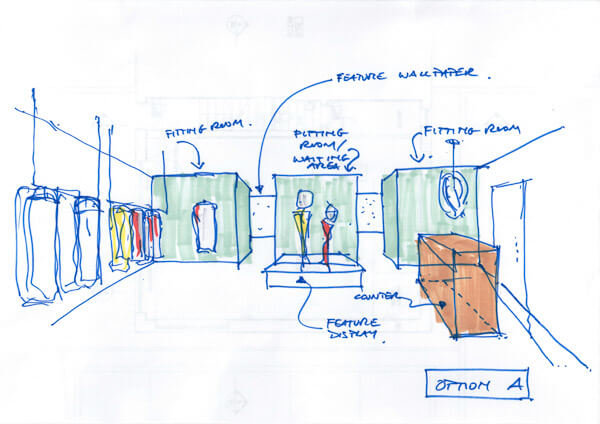 Interior design of retail clothes shop showing hanging rails, counter and display areas in front of green wall to changing rooms.