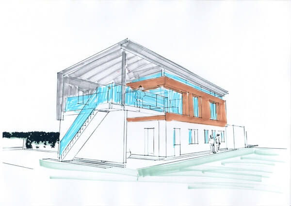 3-D view of passive house with raised living area rendered in grey, brown and blue pens to indicate zinc, timber cladding and glass balustrades.